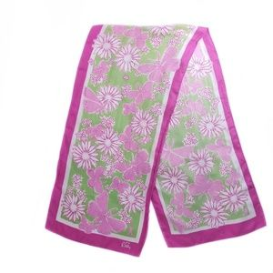 Lilly Pulitzer Pink Silk Floral Scarf